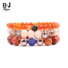 Multilayer Womens Bracelets Sets Natural Stone Crystal Plastic & Wood Beads Coral Hematite Eye-shape Circle BCSET268