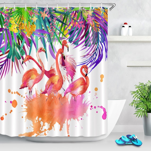 Us 14 81 43 Off 72 Bathroom Waterproof Fabric Shower Curtain Polyester 12 Hooks Bath Accessory Sets Watercolor Tropical Flower Leaves And Bird In
