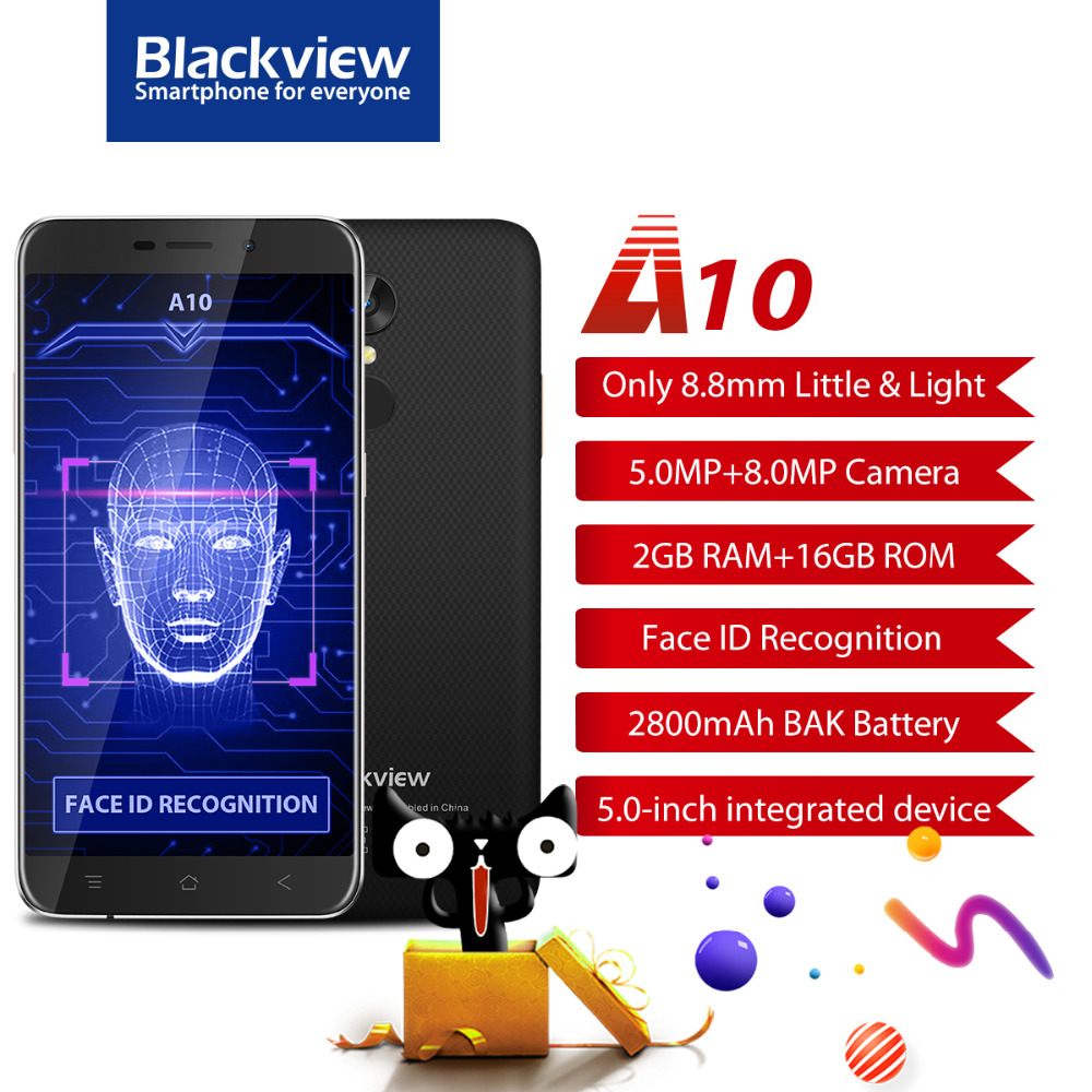 Blackview A10 Del Telefono Mobile 5.0 Pollice MTK6580A Quad Core Android 7.0 Smartphone 2 GB di RAM 16 GB ROM 8.0MP ID Impronte Digitali Cellulare telefono