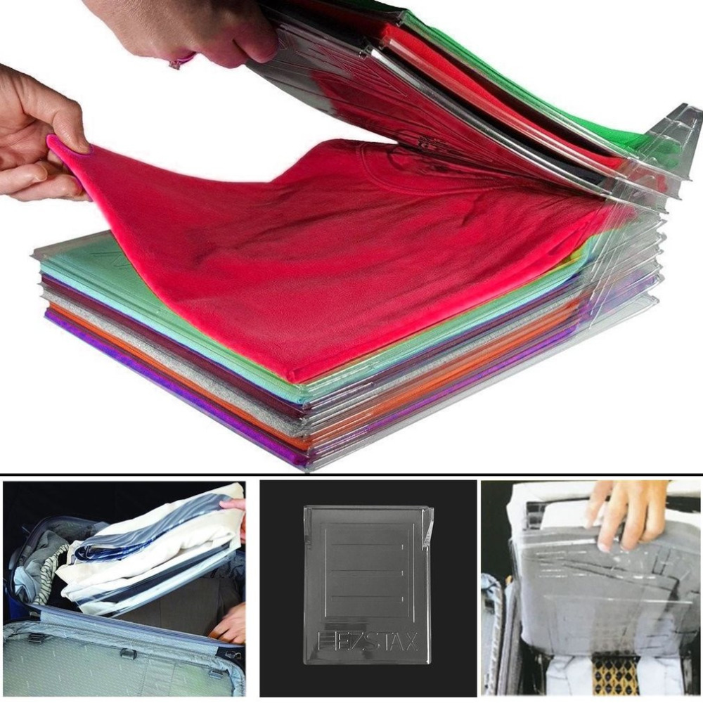 10Layer Clothes Fold Board Clothing Organization System Shirt Folder Cabinet Closet Drawer Stack Household Closet Organizer 2018 slide out fold down ironing iron board closet wardrobe cloakroom concealed
