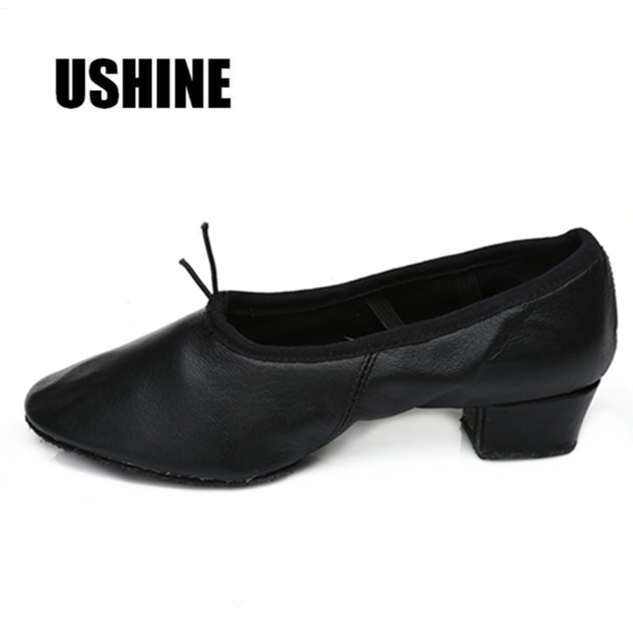 USHINE Red Pink Black PU Yoga Indoor Latihan Zapatos De Baile Latino Mujer Women Ballet Dance Shoes