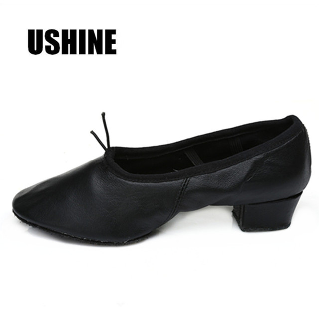 USHINE Red Pink Black PU Yoga Indoor Exercising Zapatos De Baile Latino Mujer Women Ballet Dance Shoes