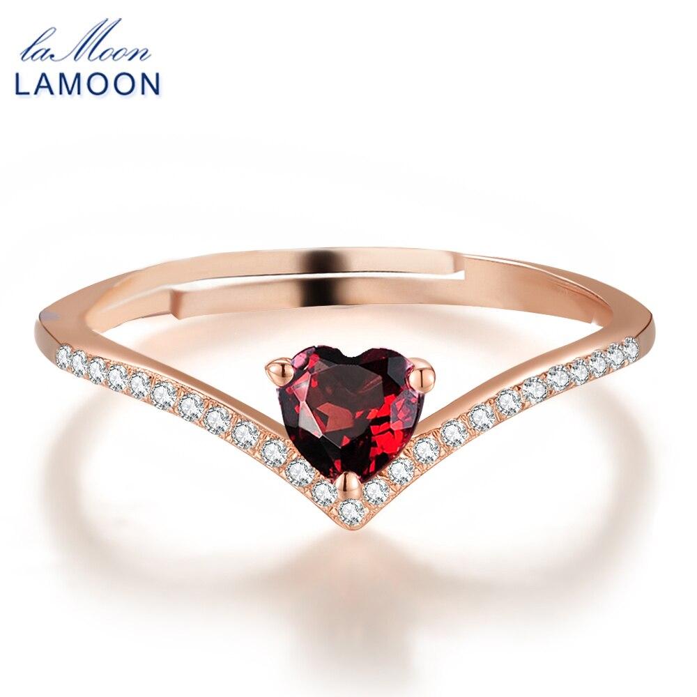 LAMOON Herz Ringe Für Frauen Romantic Love 100% Natürliche Rote Granat 925 Sterling Silber Schmuck Hochzeit Bands Ring Anillos RI003