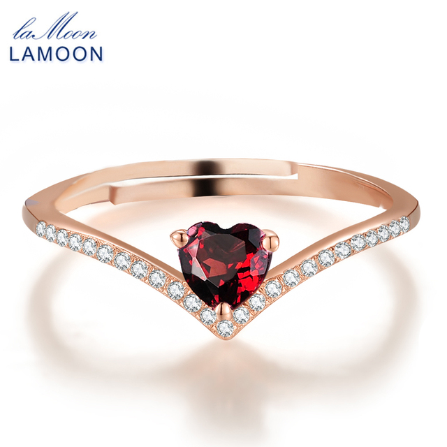 LAMOON Heart Rings For Women Romantic Love 100% Natural Red Garnet 925 Sterling Silver Jewelry Wedding Bands Ring Anillos RI003