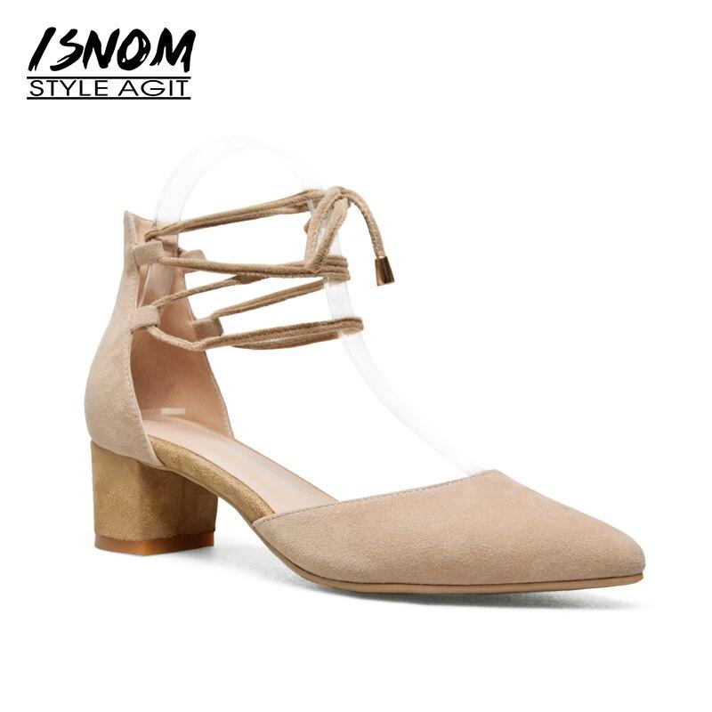 ISNOM 2018 на высоком каблуке сандалии женщин острым носом замша Kid крест связали обувь летняя мода женщины балетки большой размер