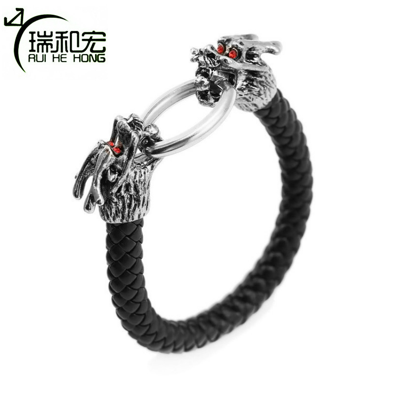 Chinese Dragon Bracelet Alloy Leather Braid Bracelets Red Rhinestone Decoration Eyes Punk Style Men Bracelet Fashion Jewelry