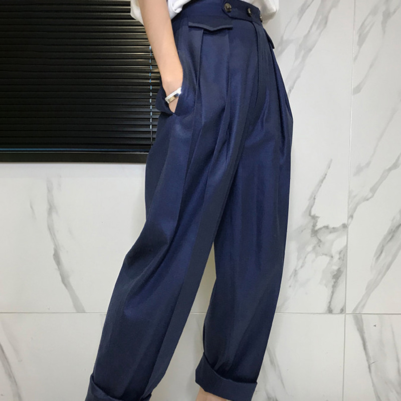 LANMREM 2019 New Fashion Loose Button Solid Flat Wide Leg Pants Casual Women spring Hot Sale Trendy High Quality Bottoms BD146
