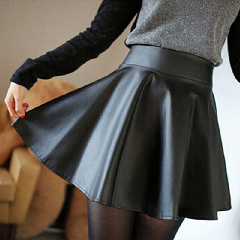 PU Leather Vintage Women Stretch High Waist Preppy Style Multicolor Skater Flared Pleated Mini Skirt