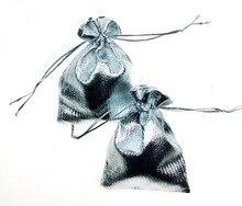 100 unids 7*9 cm bolso de lazo bolsas de mujer de la vendimia de Plata para Wed/Partido/de La Joyería/de la Navidad/bolsa de Envasado Bolsa de regalo hecho a mano diy