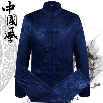 2018 New Traditional Chinese Men Wu Shu Set Traditional Dragon Totem Suits Satin Tang Suit Sets Masculina Jaqueta