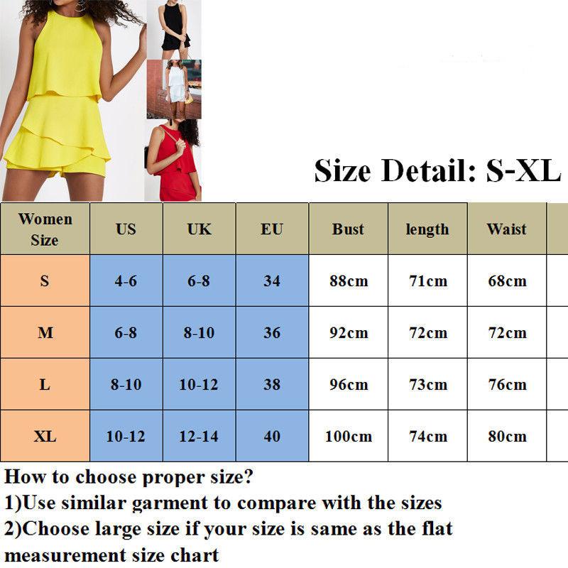 Hirigin Women's Casual Solid Ruffles Clubwear Holiday Summer Sleeveless Mini Jumpsuit Beach Shorts