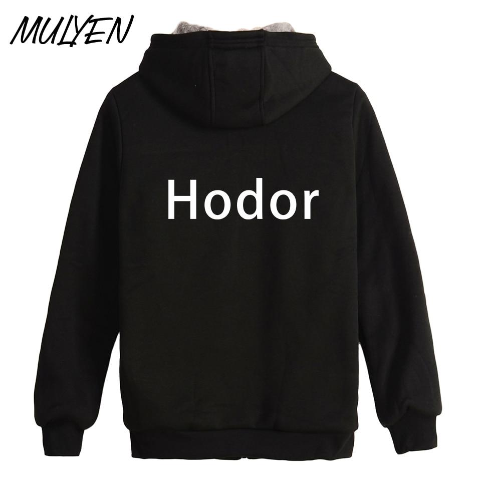 MULYEN Novelty Hodor Print Short For Hold The Door Form Game of Thrones Zipper Hoodies Men