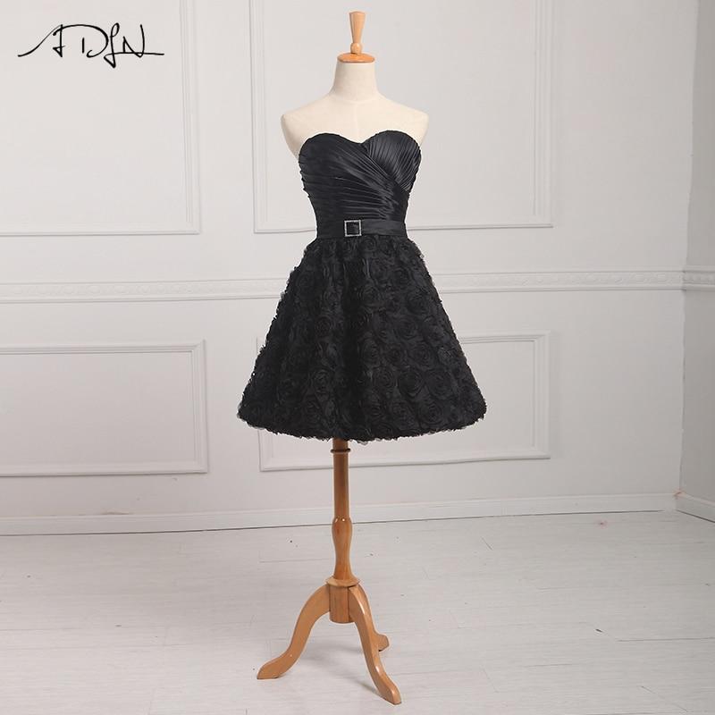 ADLN Cheap Little Black   Dress   Lace Pleats   Cocktail     Dresses   With Belt Short A-line Knee Length   Dresses   Party Evening Gowns