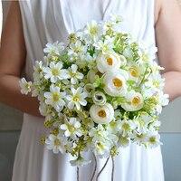 Pastoral de La Boda Ramo de Novia de Flores de Seda Artificial Blanco de dama de Honor Ramos de flores artificiales de La Boda Del Ramo de la Decoración