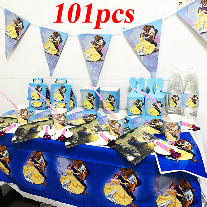 127pcs Beauty And Beast Disposable Tableware Set Beauty And Beast Disposable Plates Beauty And Beast Themed Birthday Party Set