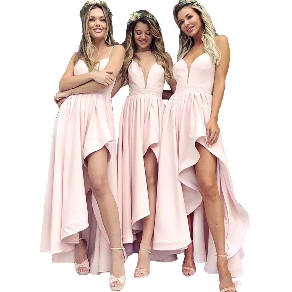Sexy haute basse rose robes de bal 2019 jaune v-cou robes de bal longue robe sur mesure pour la fête de mariage