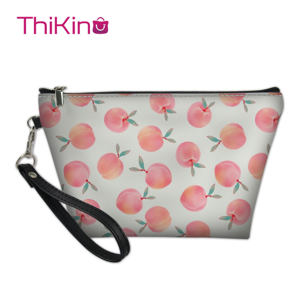 Thikin Fresh Peach Makeup Bags for Women Cosmetic Bag Cool Summer Travel Handbag Makeup Case Girls Pouch Rock Storage Purse in Cosmetic Bags Cases from Luggage Bags