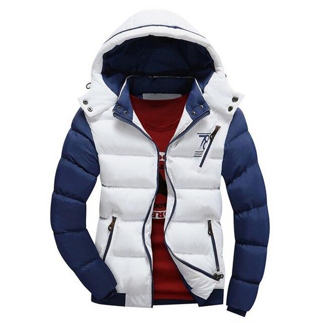 Высокое Качество Мужчины Зимние Куртки 2016 Повседневная Лоскутная Письмо Ситец Ватник Parka Мужчины Подросток Мода Капюшоном Пальто