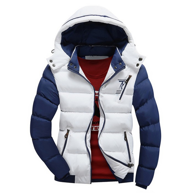 High Quality Men Winter Jackets 2016 Casual Patchwork Letter Printed Cotton Padded Jacket Parka Men Teenager Fashion Hoody Coats