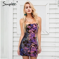 Simplee Strapless Sexy Club Sequin Party Dresses Women Zipper Backless Streetwear Mini Dress Female Robe Short