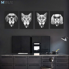 Black and White Fashion Mafia Hipster Animals Dog and Cat Posters Prints