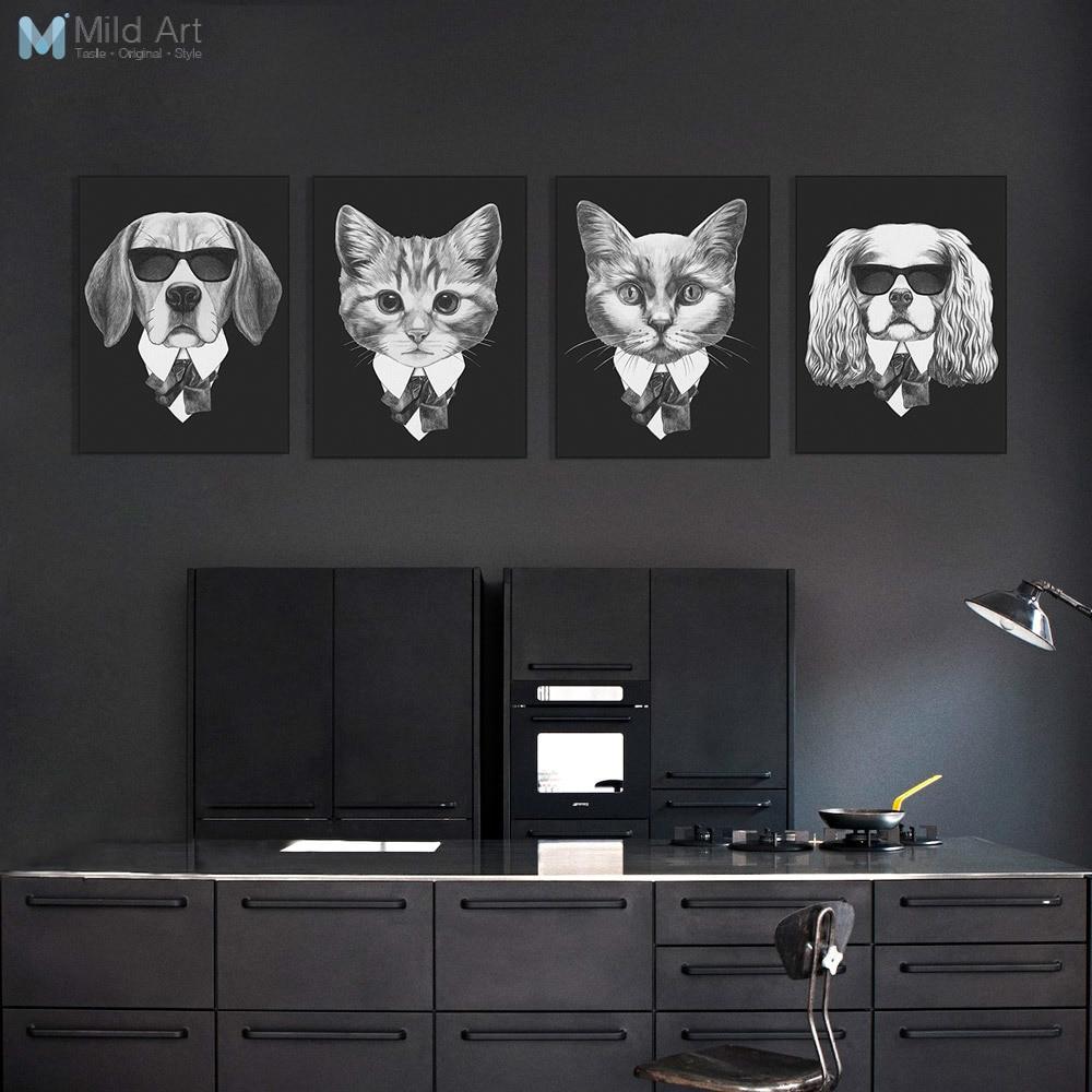 Schwarz Und Weiß Mode Mafia Hipster Tiere Hund Katze Poster Drucke Vintage  Nordic Wall Art Bilder Home Decor Leinwand Malerei
