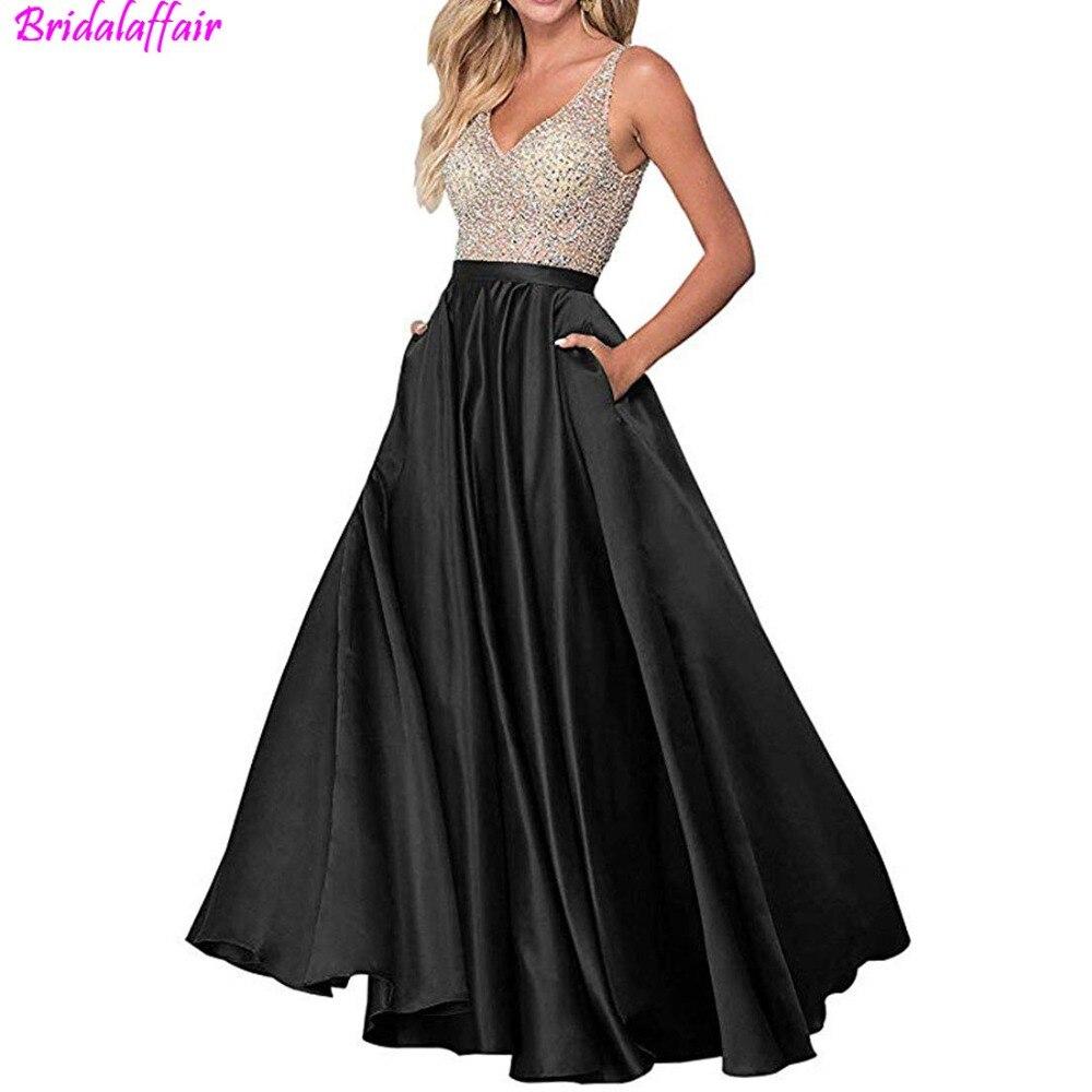 2019 Sex   dress   elegant A-Line Long Prom   Dresses   Double V-Neck Beaded Satin   Evening     Dresses   Party Gowns vestidos de festa longo