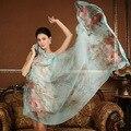 Alta qualidade 100% de seda do xaile do lenço envoltório hijab para As Mulheres padrão floral feminino super grande tamanho 175x108 CM Tampa Da Praia do verão-ups