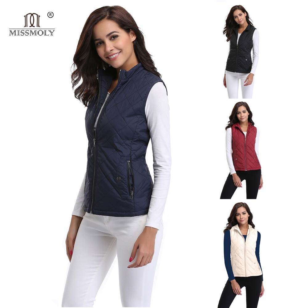 809aa42abed45 Miss Moly Womens Stand Collar Lightweight Quilted Vest Jacket