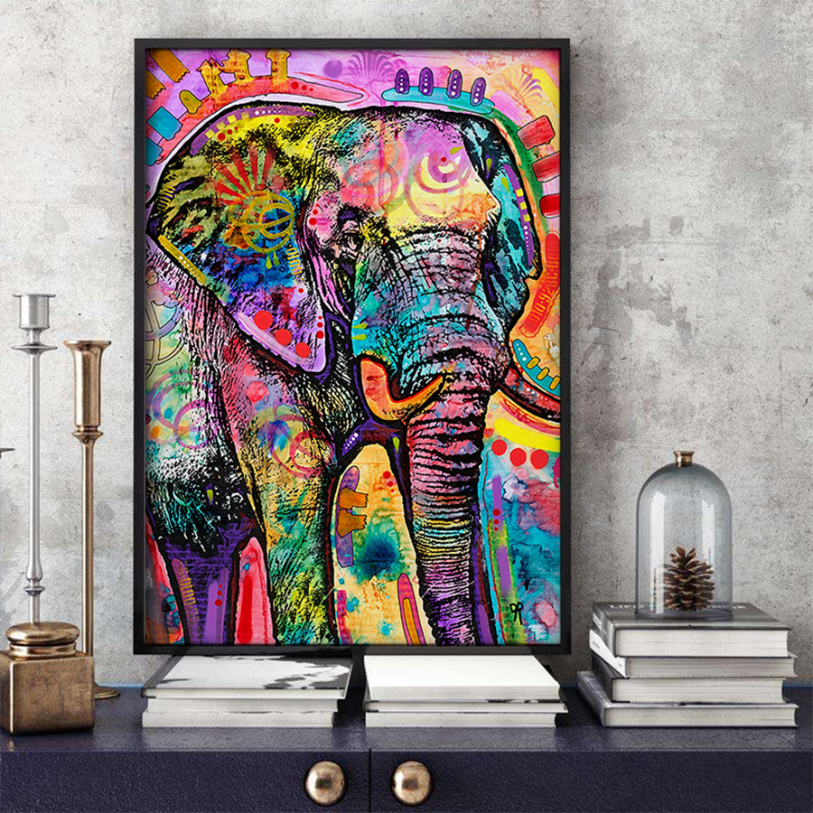 Modern Abstract Animal Oil Painting On Canvas Wall Art Picture Colorful Elephant Canvas Poster Prints Paintings For Home Decor