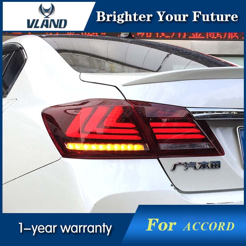 Vland LED Tail Lights Red Black Color For Honda Accord Sedan 2013-2015 LED TailLight Signal LED DRL Stop Rear Lamp Accessories red clear tail lights led brake 1 pair lh rh fit for honda accord 2013 2014 2015 4 door sedan