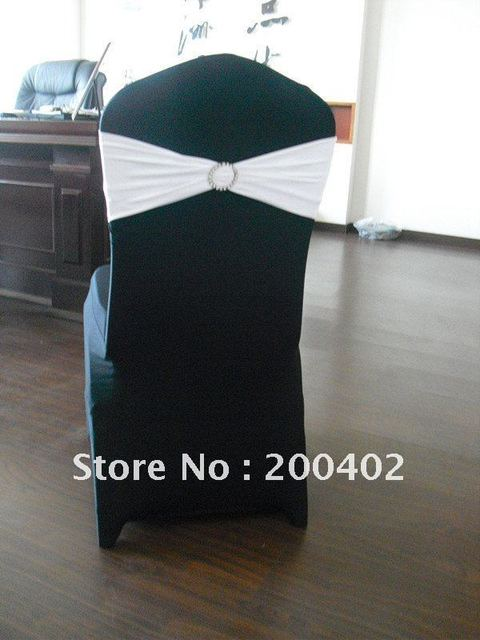 Black Spandex Chair Covers For Sale Bedroom Boudoir Cover With White Rhinestone Band In
