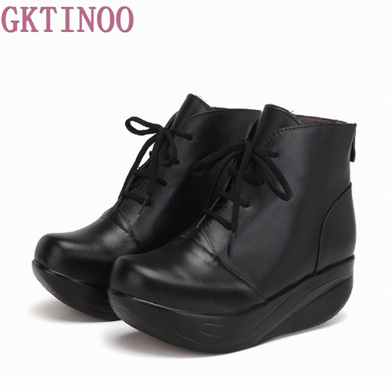 New Arrivals Women Snow Boots Platform Genuine Leather Winter Women's Shoes Lace Up Fur Boots Black Warm Ankle Boots Plus Size tape tape 1