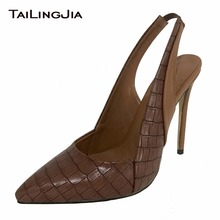 Dark Brown Stone Print Slip On Woman Pumps Pointed Toe Ladies High Heel High Quality Women Slip On Pumps Plus Size Free Shipping
