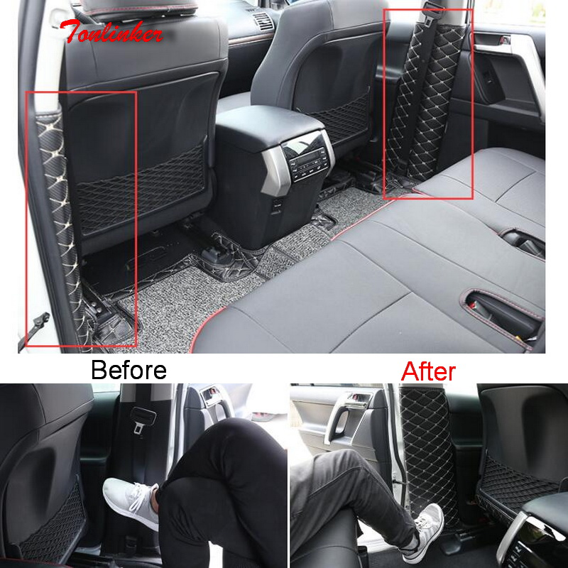 Tonlinker Cover Stickers For Toyota PRADO 2010-18 Car Styling 2 PCS PU Leather Seat Belt B-pillar Anti-dirty Pad Cover Stickers