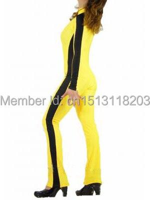 Beatrix Kiddo Costume Spandex Unisexe Super-Héros Costume Jaune Et Noir Full body Zentai Costume Pour Adulte/Enfants/Personnalisé fait