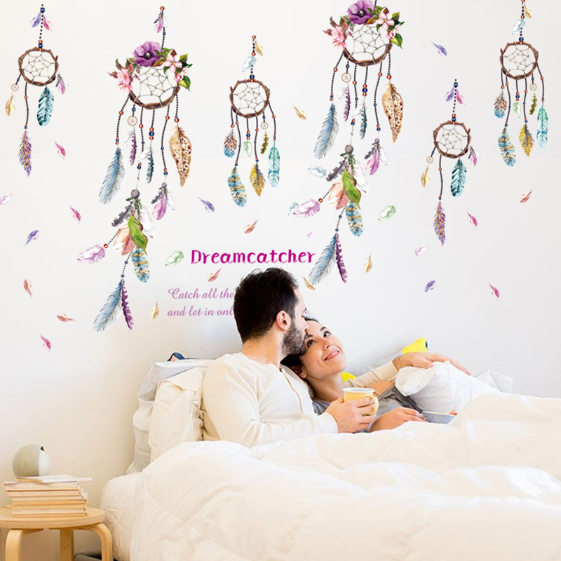 fashion indian style campanula feather wall sticker dream catcher