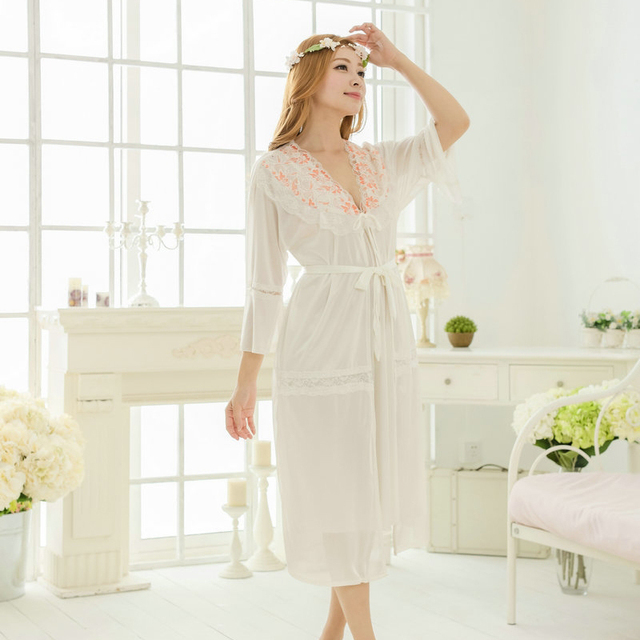Free shipping  lace Long sexy nightdress for women pajamas robe sets bathrobe Sleepwear long nightgown night dress white Y229