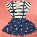 13-24 М, 2016 Новые летние дети девочки платья милые платья детские полосой платье точка жан детские демин платье мягкие и удобные