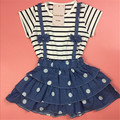 13-24M, 2016 New summer children girls' dress cute dress baby stripe dress dot jean infant demin dress soft and comfortable