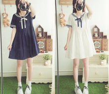 Gadis Kartun Blue White Sailor Collar Seragam Girls Preppy Cute Casual Dress