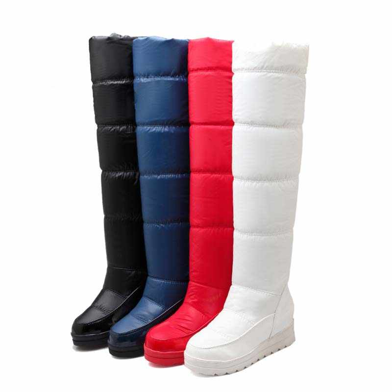 ENMAYLA Black Red White Blue New Boots Winter Snow Over-the-Knee Boots Women Warm Fur Flats Platform Long Boots Shoes Woman