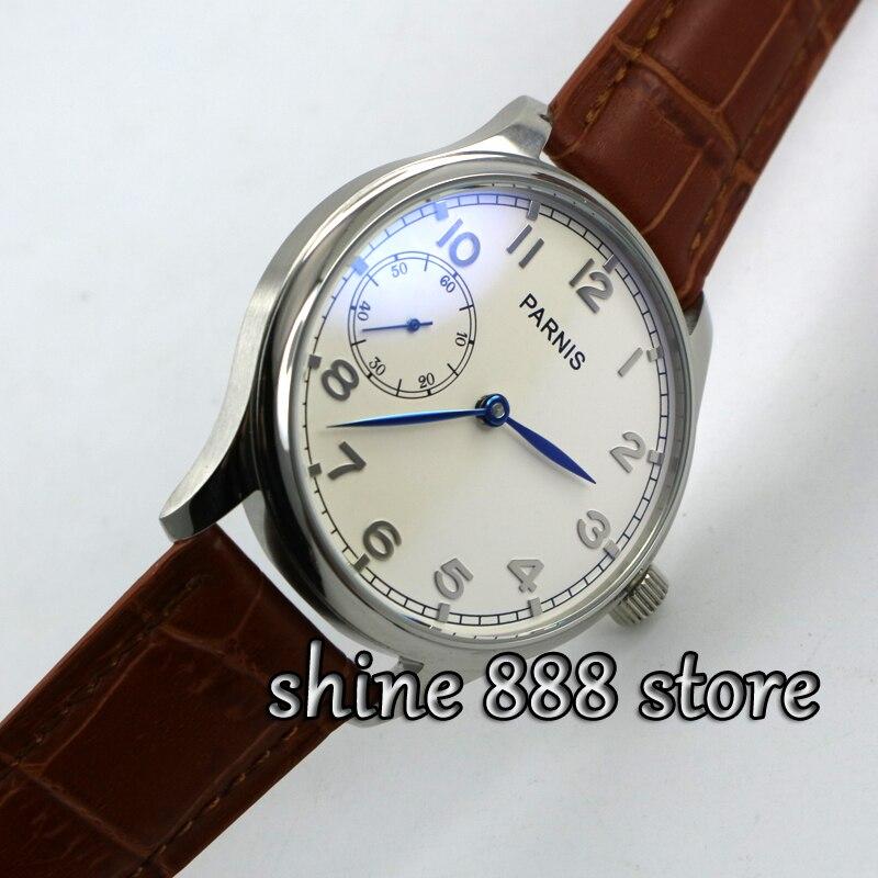 Saatler'ten Mekanik Saatler'de Parnis 44mm Beyaz kadran Mavi eller 6497 el sarma hareketi erkek saati'da  Grup 1