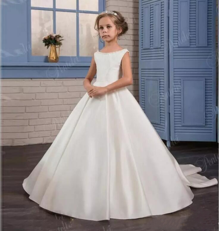 White Ivory Princess Gown Flower Girl Dresses 2018 Backless Kids Formal Wear First Communion Gown Custom Made