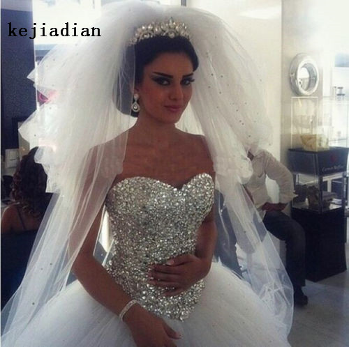 Gorgeous Ball Gown Wedding Dresses crystal 2019 Sexy sweetheart Bride Gowns Vintage wedding gown Vestido De