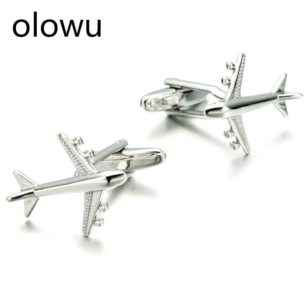 Olowu Men Luxury Boutique Cuff Links Silver Color Copper Airplane Styling Suit Cufflinks Cuff Links Gifts For Mens Jewelry