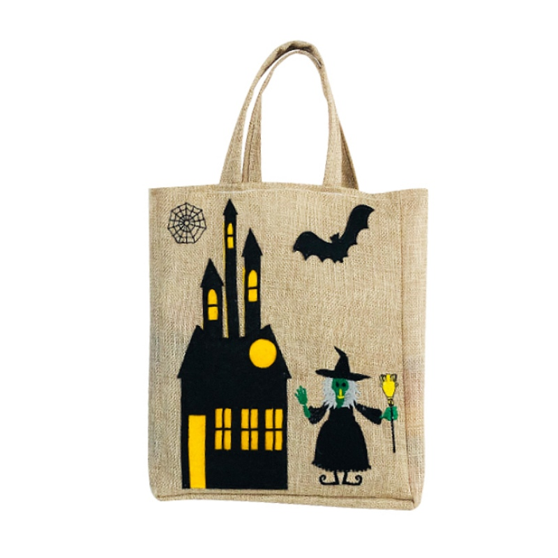 Halloween Gift Bag Trick Or Treat Candy Tote Bag Burlap Pouch For Halloween(China)