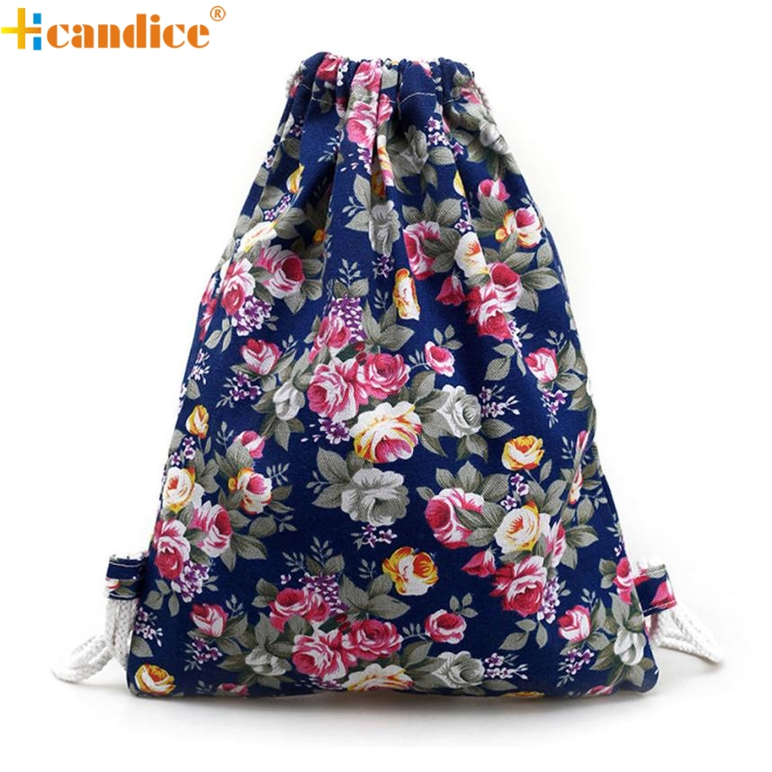 Backpack Best Gift Hcandice New Womens Floral Canvas Backpack Fashion Drawstring Backpack drop ship bea676#3