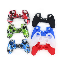 Colorful non-slip silicone rubber case for PS4 cases handle ultra-thin controller with thumb grip
