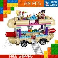 249pcs Friends 01007 Girls Princess Amusement Park Hot Dog Van DIY 3D Blocks Minifigures AlanWhale Toy